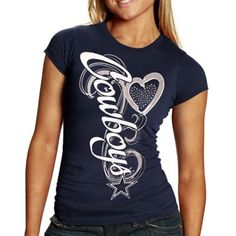 Reebok Dallas Cowboys Ladies Sparkle Flourish T-Shirt - Navy Blue