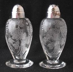 HEISEY ROSE salt and pepper shakers