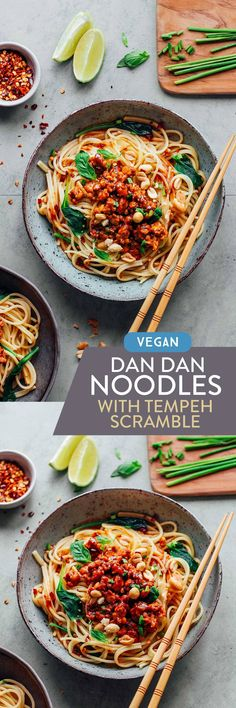 Take pasta to the next level with these Dan Dan noodle bowls! It comes with a spicy Sichuan sauce and smoky tempeh scramble