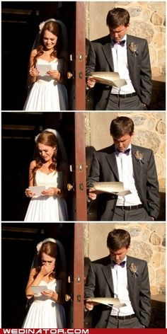 Write a letter to eachother and read them on each side of the door because groom can't see bride before wedding!