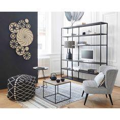 Coussin à pompons en lin blanc et noir 30x50cm | Maisons du Monde