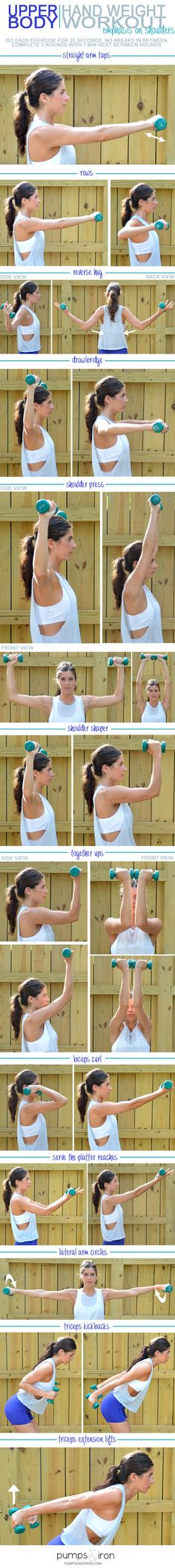 Fitness Motivation : Upper-Body Hand Weight Workout (emphasis on shoulders) Helps to keep strong thro. - All Fitness Fitness Workouts, Fitness Motivation, Sport Fitness, Fitness Diet, Fun Workouts, At Home Workouts, Health Fitness, Workout Diet, Workout Routines