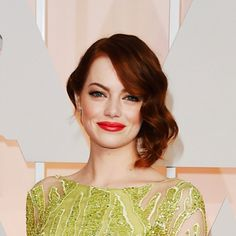 Emma Stone attends the 2015 #Oscars. Color by Tracey Cunningham.