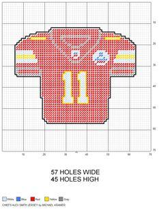 Kansas City Chiefs Alex Smith NFL Football Jersey plastic canvas pattern by Michael Kramer