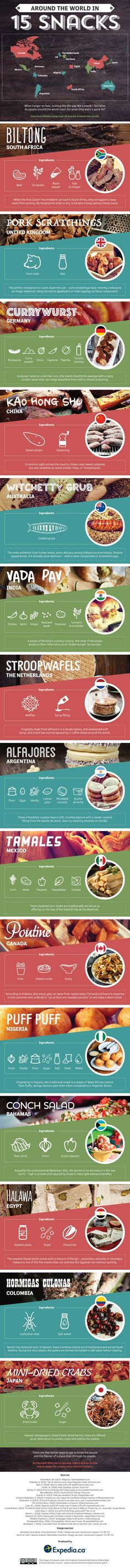 Around the World in 15 Snacks #infographic #infografía