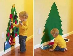Felt Christmas tree for the kidos.....so they can play & redecorate as much as they want w/out bothering the actual tree =) Genius !