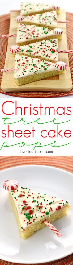 Christmas Tree Sheet Cake Pops ~ tender vanilla sheet cake is slathered in cream cheese frosting, showered with sprinkles, cut into triangles, and embellished with candy canes to make cute & festive treats...perfect for any holiday party or Christmas cookie platter! | http://FiveHeartHome.com