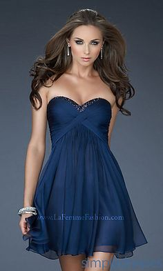 Short Strapless Open Back Prom Dress by La Femme 18177 at SimplyDresses.com