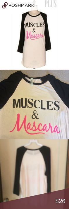 """Muscles & Mascara Tee NWOT!  Muscles & Mascara Tee. Black 3/4 sleeve jersey t-shirt. 95% rayon/5% spandex. Size 1XL is 28"""" long.  22"""" armpit to armpit.       Size 2XL is 30"""" long. 22"""" armpit to armpit.       Price is firm unless bundled. No trades. Tops Tees - Long Sleeve"""
