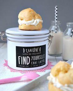 Rezept Windbeutel   Chai Latte   ChaiLove   recipe chai latte cream puffs   strawberry cream and cookie   waseigenes.com