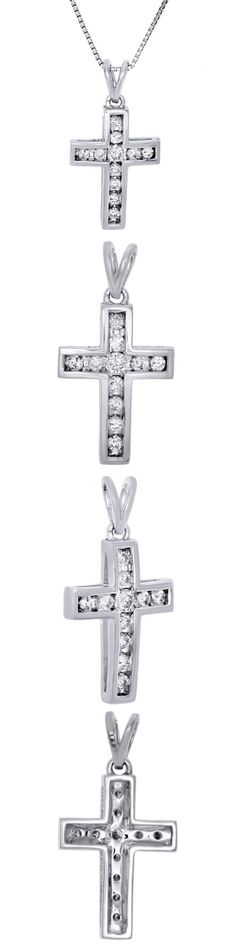 Diamond 164331: 10K White Gold Ladies Round Diamond Cross Pendant 0.90 Channel Set Charm 1/4 Ct -> BUY IT NOW ONLY: $219.99 on eBay!