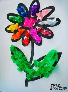 Tissue Paper Flower Art Activity | Mess For Less #kidscraft #preschool
