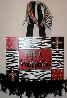 Personalized, Hand Painted Canvas Wall Art (11x14 zebra, cross, dots example). $35.00, via Etsy.