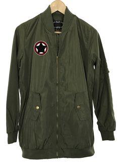 auryn patch long bomber jacket