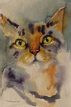 by Katya Minkina ~ x - Cats are Art - Katzen Art Watercolor, Watercolor Animals, Cat Drawing, Painting & Drawing, Pics Art, Animal Paintings, Dog Art, Art Projects, Drawings