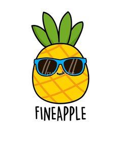 Fineapple Fruit Food Pun by punnybone cartoon pun 'Fineapple Fruit Food Pun' Sticker by punnybone Funny Food Puns, Cute Jokes, Punny Puns, Cute Puns, Food Humor, Funny Memes, Puns Hilarious, Cute Food Drawings, Cute Kawaii Drawings