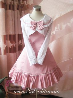 Cheap Pink College Wind Slim Bow Princess Dress Sale At Lolita Dresses Online Shop. We provide Lolita products with quality and best service online, lower price and top style fashion for you. Pastel Fashion, Kawaii Fashion, Lolita Fashion, Cute Fashion, Kawaii Dress, Kawaii Clothes, Pretty Outfits, Pretty Dresses, Cute Outfits