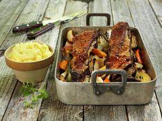 Ovnsbakt bibringe | Oppskrift - MatPrat Norwegian Food, Bagels, What To Cook, Hot Sauce, Tandoori Chicken, Paella, Ethnic Recipes, What's Cooking, Norway