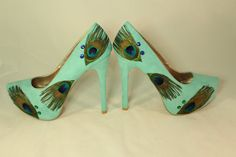 Turquoise Peacock Shoes size 8 by ViciousElegance on Etsy, $65.00