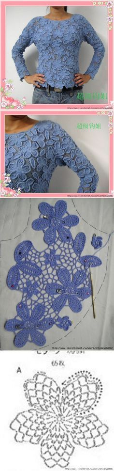 Floral Irish Crochet Pattern ... ♥ Deniz ♥