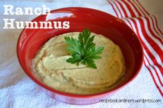 Ranch Hummus - just 5 ingredients in the food processor. This was so delicious - I spread it on a Wasa cracker for a healthy snack.