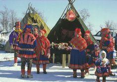 https://flic.kr/p/61h2aD   Official card FI-453800   from Finland(kaisu57) Traditional Lapp costumes are still worn during Maria`s Day festival. Kiitos kortista,Kaija!