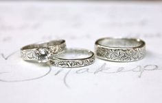 white topaz engagement and wedding ring set . set of three matching vine rings . recycled silver engraved quote rings by peacesofindigo