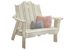 Nantucket Settee, Whitewash - A fanciful rendition of the classic Adirondack chair, this settee features a scalloped apron and carved detailing.