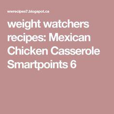 weight watchers recipes: Mexican Chicken Casserole Smartpoints 6