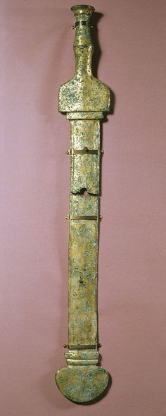 Roman - Sword from an Equestrian Statue - Walters 54761. This sheathed sword was part of a Roman imperial monument that included a gilded bronze equestrian statue. Date 1st century (Julio-Claudian)