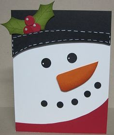 Isn't he cute! White base card, hat black w/white gel pen, red scarf, pumpkin nose. Eyes & mouth made w/ hole punches, and glitter! Christmas Canvas, Christmas Paintings, Christmas Snowman, Snowman Cards, Winter Cards, Xmas Cards, Cute Cards, Creative Cards, Handmade Christmas