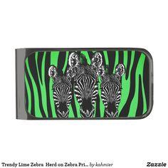 Trendy Lime Zebra  Herd on Zebra Print Gunmetal Finish Money Clip