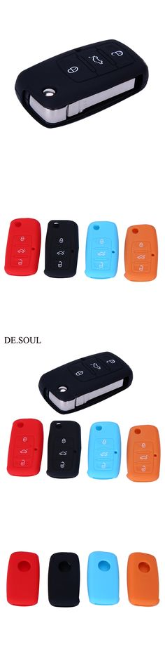 DE.SOUL Silicone Car Key Cover For Volkswagen Folding Key Fob Protective Case For Vw Passat Polo Beetle Bora Touran Touareg