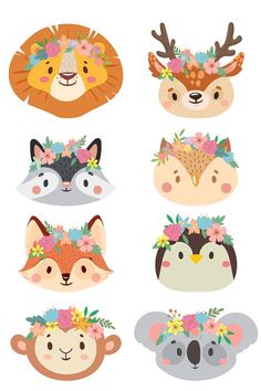 Happy Animals, Funny Animals, Cute Animals, Baby Clip Art, Baby Art, Animal Heads, Animal Faces, Mini Kart, Theme Bapteme