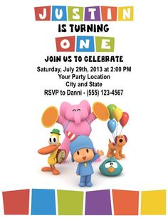 Personalized Pocoyo Children's Birthday Party Invitations Custom by DannisCuteCreations