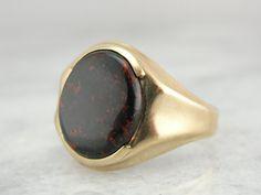 Deeply Shaded Bloodstone Gem in Vintage Men's Ring от MSJewelers, $515.00