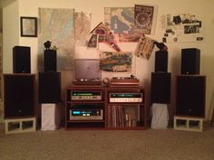 My almost totally vintage system with lots of Sansui gear: Sansui 2000x receiver, Sansui 3300 receiver, Samsui 7070 receiver, Sansui Sp-2500 speakers, Klipsch B-20 speakers (modern), PSB Image 2B speakers (modern), Yamaha NS-20t speakers, Yamaha YP-B4 w/ Shure M91ED cartridge and lastly, Dual 1219 turntable w/ Audio-Technica 12SA cartridge.