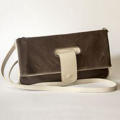 Duotone Brown and Grey Flap Shoulder Bag Leather Shoulder Bag, Leather Bag, Brown And Grey, Handmade, Bags, Fashion, Hand Made, Handbags, Moda