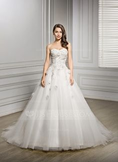 Ball-Gown Sweetheart Chapel Train Satin Tulle Wedding Dress With Beading Flower(s) Sequins (002056469)