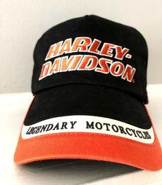 24966db187692 Harley Davidson Hat Black Orange Spell Out Logo Hat Adjustable Legendary  Motorcy  HarleyDavidson  BaseballCap