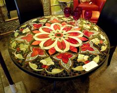 Mosaic Table | 30 round glass mosaic table ultima design we made for the hollywood ...