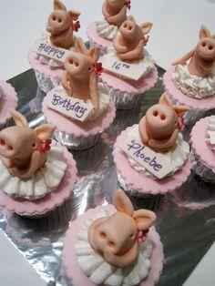 Piggy Tutu Cupcakes by Sliceofcake.deviantart.com on @deviantART
