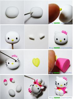 Turorial : How to make Hello Kitty polymer clay / Tutoriel : Réaliser Hello Kitty en pâte polymère J'ai modifié les images, car le tuto précédent avait ces images tronquées pour enlever le tag du créateur, et ainsi les tagguer autrement. source : http://blog.naver.com/rndmfxl...
