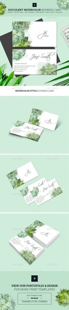Succulent Watercolor Business Card Template PSD