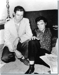 Singer Glen Glenn and Elvis at the knickerbocker hotel, Thursday February 7th 1957.