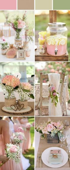 chic and elegant pink rustic wedding color ideas
