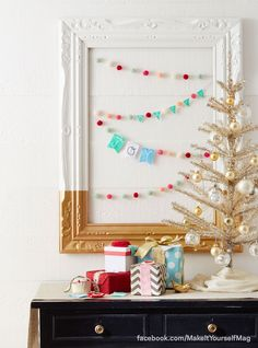 Create a colorful garland made with felted balls and embroidered pennants to hang in your home. (Designer: Katie Leporte, @Katie Leporte ) For instructions, purchase your digital issue here: http://www.zinio.com/www/browse/issue.jsp?skuId=416279179&prnt=&offer=&categoryId=