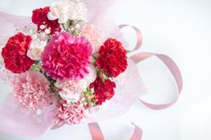 #MothersDay #Carnation #Pink #Red #Bouquet January Flower Lore