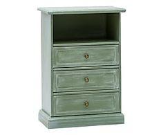 Comodino a 3 cassetti in legno verde - 50x29x72 cm