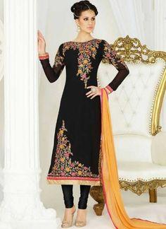 Black Mustard Embroidery Work Georgette Chiffon Designer Fancy Churidar Suit http://www.angelnx.com/Salwar-Kameez/Churidar-Suits